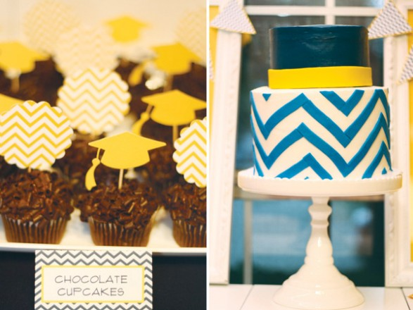 chevron-cupcake-toppers-and-cake